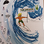 dibujo surf and clean en escuela de surf surf&rock