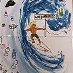 dibujo surf and clean en escuela de surf surf&rock